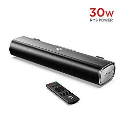 Computer Speakers, Bomaker 16-Inch 2.0 soundbar, 30W, 105dB, Wireless Bluetooth 5.0, Optical / Aux / USB, 3 EQ Modes,Built-in DSP and 3D, Deep Bass, For PC TV Cellphone Desktop Computer Tablets Laptop
