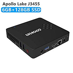 COOFUN Desktop Mini PC Intel Apollo Lake Celeron J3455 Processor (up to 2.3GHz),6G DDR3/SSD 128GB Windows 10 Pro HDMI&VGA Display 2.4G+5G Dual WiFi USB 3.0/BT 4.2 Support Linux, WOL and PXE Boot
