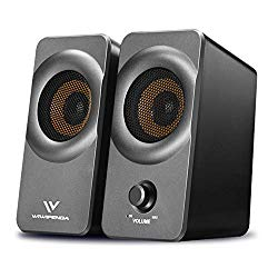 Desktop Computer Speakers with Stereo Sound for PC, Laptop, Notebook, Cellphone, 10W USB Powered Small Media Speakers (3.5mm AUX) (Silver Grey)