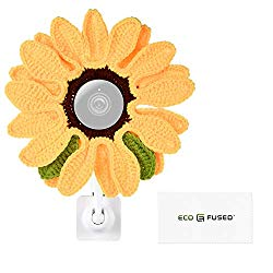 """Eco-Fused Disguise Compatible with Nest Cameras, DSLR Lens and Others from 2.17″"""" to 4.13″"""" 5.5-10.5 cm Diameter Camera Lens – Sunflower – Handmade Knit (1 Pack)."""