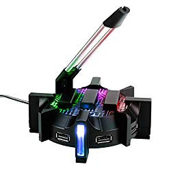 ENHANCE Pro Gaming Mouse Bungee Cable Holder with 4 Port USB Hub – 7 LED Color Modes with RGB Lighting – Wire & Cord Management Support for Improved Accuracy, Stabilized Design for Esports