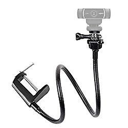 Etubby Adjustable 26″ Gooseneck Desktop Webcam Stand Holder Flexible Jaw Camera Desk Clamp Mount for Logitech Webcam C925e, C922x, C922, C930e, C930, C920, C615 and More (1/4″ Threaded)