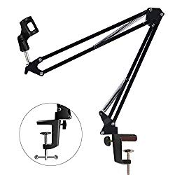 Etubby Adjustable Desktop Microphone Stand Suspension Mic Clip Boom Studio Scissor Arm Stand for Radio Broadcasting Studio, Voice-Over Sound Studio, Stages, and TV Stations