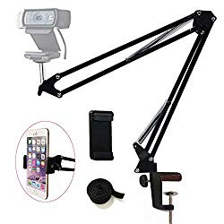 Etubby Webcam Mount Phone Holder Suspension Scissor Arm Webcam Stand Camera Phone Tripod Holder for Cellphones, Logitech Webcam C920 C930 C922 C615 and Other Devices with 1/4″ Threaded