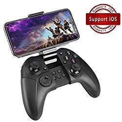 FiveEyes Gamepad Gaming Controller Wireless Bluetooth Gaming Joystick Joypad with Clamp Holder Compatible with iOS/iPhone/iPad/PS4 remote play – Black