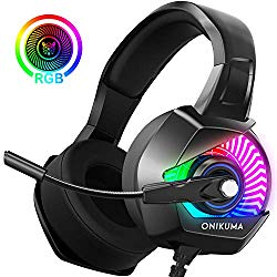 Gaming Headphones – ONIKUMA PS4 Gaming Headset with Mic, 7.1 Surround Sound& RGB LED Light, Noise Canceling Earpads, Soft Memory Earmuff for PS4, Xbox One, PC, Mac, Laptop, Nintendo Switch