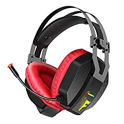 Gaming Headset for PS4, Xbox One, PC, Nintendo Switch, Foxnovo Over Ear Headphones Noise Cancelling with Microphone, RGB Led, Bass Surround Sound, Volume Control, Soft Padding Memory Earmuffs