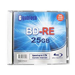 Gigablock 1pcs ReWritable Blu-Ray BD-RE 1~2X 25GB Logo Printed Blank Media with Jewel Case