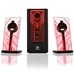 GOgroove BassPULSE 2.1 Computer Speakers with Red LED Glow Lights and Powered Subwoofer – Gaming Speaker System for Music on Desktop , Laptop , PC with 40 Watts , Heavy Bass