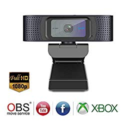 HD Webcam 1080P with Privacy Shutter, Streaming Web Camera with Dual Microphones, Autofocus Webcam for Gaming Conferencing, Laptop or Desktop Webcam, USB Computer Camera for Mac Xbox YouTube Skype OBS