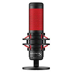 HyperX QuadCast – USB Condenser Gaming Microphone, for PC, PS4 and Mac, Anti-Vibration Shock Mount, Four Polar Patterns, Pop Filter, Gain Control, Podcasts, Twitch, YouTube, Discord, Red LED – Black