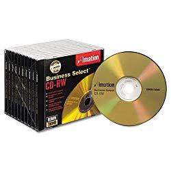 imation CD-RW Discs, 700MB/80min, 4x, w/Slim Jewel Cases, Gold, 10/Box