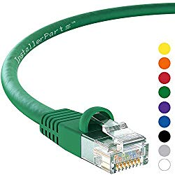 InstallerParts (100 Pack) Ethernet Cable CAT6 Cable UTP Booted 25 FT – Green – Professional Series – 10Gigabit/Sec Network/High Speed Internet Cable, 550MHZ