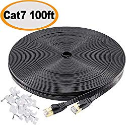 Jadaol Cat 7 Ethernet Cable 100 ft SSTP Shielded Flat, Durable High Speed Internet LAN Computer Patch Cord, Faster Than Cat5e/cat6, Solid Rj45 Cat7 Network Wire for Router, Modem, Xbox, PS, TV- Black
