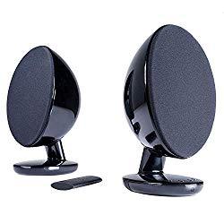 KEF EGG Versatile Desktop Speaker System  – Gloss Black (Pair)
