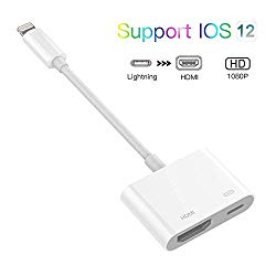 Lighting to HDMI Adapter,ebasy Lighting Digital AV Adapter with Lighting Charging Port for HD TV Monitor Projector 1080P for Phone, Pad and Pod (iOS 11, iOS 12)-White