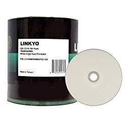 LINKYO 52X CD-R White Inkjet Metalized Hub Printable Media – 100 Pack Spindle