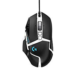 Logitech G502 Hero High Performance Gaming Mouse Special Edition, Hero 16K Sensor, 16 000 DPI, RGB, Adjustable Weights, 11 Programmable Buttons, On-Board Memory, PC/Mac – Black/White