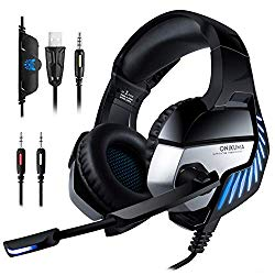 New Xbox one Gaming Headset ONIKUMA K5Ppro 3.5mm Stereo Wired Over Ear Gaming Headset with Mic&Noise Cancelling & Volume Control for New Xbox One/PC/Mac/ PS4/ Table/Phone (Black&Blue)