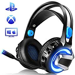 NiceWell Gaming Headset for Xbox One, PS4, PC, Gaming Headphones Wired with Microphone, LED Light, Stereo Sound, Noise-canceling, Over-Ear Soft Earmuffs and Adjustable Heanband