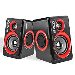 PC Computer Speakers, Reccazr SP2040 USB-Powered Multimedia Desktop Speaker with Stereo Sound Built-in 4 Diaphragms|Red