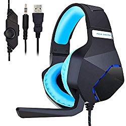 PC Gaming Headset for PS4 Xbox One, Onikuma 3.5mm Stereo USB LED Headphones with Omnidirectional Microphone, Volume Control for Computer Laptop Mac Playstation 4 by YSSHUI-Black + Blue