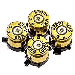 PS4 Bullet Buttons Gold Silver Made Using Real Once Fired 9MM Bullet Casings – Designed for PS4 PS3 and PS2 Controllers