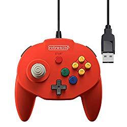 Retro-Bit Tribute 64 USB Controller for PC, Nintendo Switch, Mac, Steam, RetroPie, Raspberry Pi – USB Port – (Red)