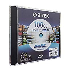 Ritek BD-RE XL Rewritable BDXL 100GB Triple Layers 2X White Inkjet Hub Printable Blank Disc