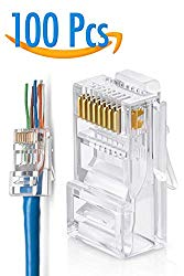 RJ45 Cat6 Pass Through Connectors Pack of 100 | EZ Crimp Connector UTP Network Plug for Unshielded Twisted Pair Solid Wire & Standard Cables | Transparent Passthrough Ethernet Insert