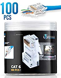 RJ45 Cat6 Pass Through Connectors Pack of 100/Jar | EZ Crimp Connector UTP Network Unshielded Plug for Twisted Pair Solid Wire & Standard Cables | Transparent Passthrough Ethernet Insert