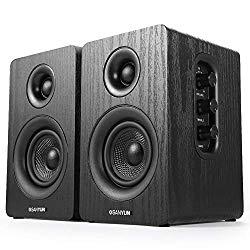 Sanyun SW208 3″ Active Bookshelf Speakers – 2.0 Powered Computer PC Monitor Speakers – 3 Inch Carbon Fiber Speaker Unit – 3.5mm Audio Input – Wood Grain (Pair)