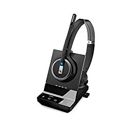 Sennheiser SDW 5066 (507024) – Double-Sided (Binaural) Wireless Dect Headset for Desk Phone Softphone/PC & Mobile Phone Connection Dual Microphone Ultra Noise Cancelling, Black