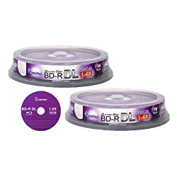 Smart Buy 20 Pack Bd-r Dl 50gb 6X Blu-ray Double Layer Recordable Disc Blank Logo Data Video Media 20-Discs Spindle