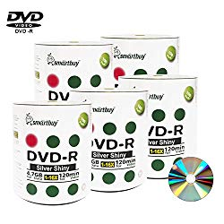 Smart Buy 500 Pack DVD-r 4.7gb 16x Shiny Silver Blank Data Video Movie Recordable Media Disc, 500 Disc 500pk