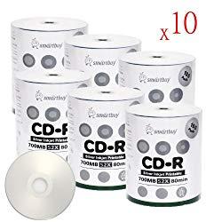 Smart Buy CD-R 6000 Pack 700mb 52x Printable Silver Inkjet Blank Recordable Discs, 6000 Disc, 6000pk