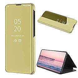 Smart Mirror Case for Galaxy Note 10,Translucent Flip Stand Screen Protector Case for Samsung Galaxy Note 10,Moiky Gold Ultra Slim Clear View Window Leather Protective Plated Bumper Case
