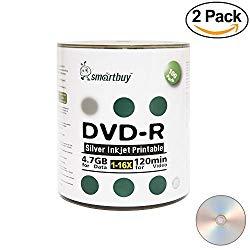 Smartbuy 200-disc 4.7gb/120min 16x DVD-R Silver Inkjet Hub Printable Blank Recordable Media Disc