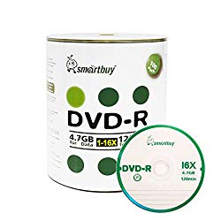 Smartbuy 4.7gb/120min 16x DVD-R Logo Top Blank Data Video Recordable Media Disc (100-Disc)