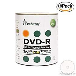 Smartbuy 4.7gb/120min 16x DVD-R White Thermal Hub Printable Blank Recordable Media Disc (1800-Disc)