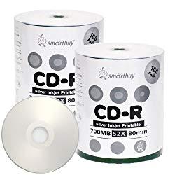 Smartbuy 700mb/80min 52x CD-R Silver Inkjet Hub Printable Blank Recordable Media Disc (200-Disc)