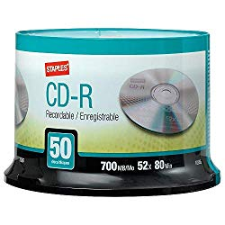 STAPLES 452555 700Mb 80Min 52X Cd-R Spindle 50/Pack (10365)