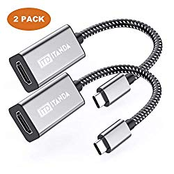 USB-C to HDMI Adapter 4K, ITANDA USB 3.1 Type C Male (Thunderbolt 3 Compatible) to HDMI Female 4K for The 2016 17 18 MacBook Pro, 2017 iMac, ChromeBook Pixel (Grey-2 Pack)