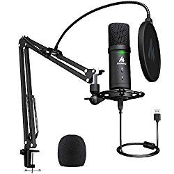 USB Microphone 192KHz/24Bit Zero Latency Monitoring MAONO AU-PM401 USB Computer Condenser Cardioid Mic with Mute Button for Podcasting, Gaming, YouTube, Streaming, Recording Music