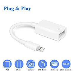 VELLEE Upgraded USB Camera Adapter, USB OTG Cable Adapter Compatible with iPhone/iPad, Support iOS 13 and Before, USB Female Supports Connect Card Reader, U Disk, Keyboard, Mouse, USB Flash Drive