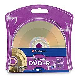 Verbatim 16x DVD+R LightScribe Blank Media, 4.7GB/120min – 10 Pack (96943)