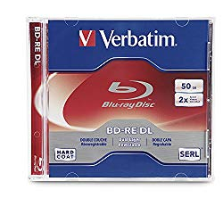 Verbatim BD-RE DL 50GB 2X with Branded Surface – 1pk Jewel Case, White – 97536