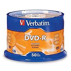 Verbatim DVD-R 4.7GB 16x AZO Recordable Media Disc – 50 Disc Spindle