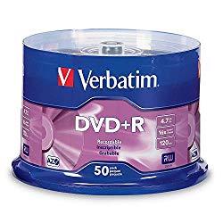 Verbatim DVD+R 4.7GB 16X AZO Recordable Media Disc – 50 Disc Spindle, Silver – 95037