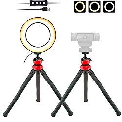 "Webcam Light, 6"" USB Ring Light Phone Holder with Tripod Stand for Logitech Webcam C920,C922x,C930e,Brio 4K,C925e,C615 – Acetaken"